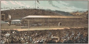 An engraving of the finish line at the 1881 Melbourne Cup, which Zulu won.